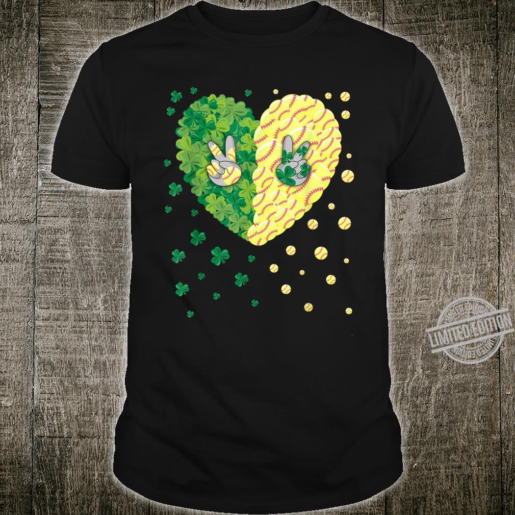 Softball Softball Shamrock Heart St.Patrick's day Shirt