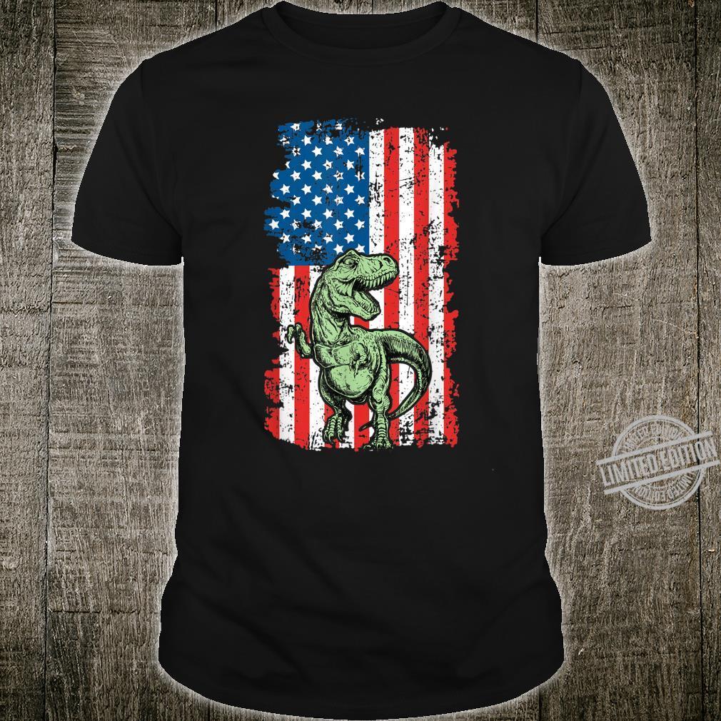 T Rex Dinosaurier Vintage Amerikanische Flagge Shirt