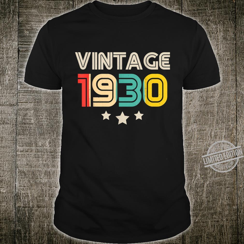 Vintage 1930 Born In 1930 Retro 90th Birthday Shirt