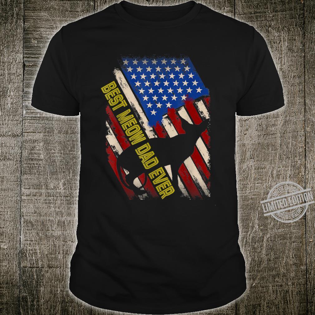 Vintage American Flag Best Meow Dad ever Sphynx Cat Shirt