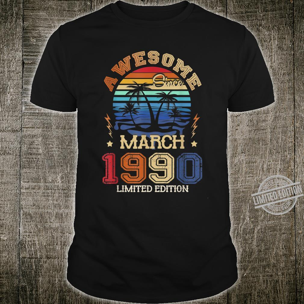 Vintage Awesome Since March 1990 30th Birthday Shirt