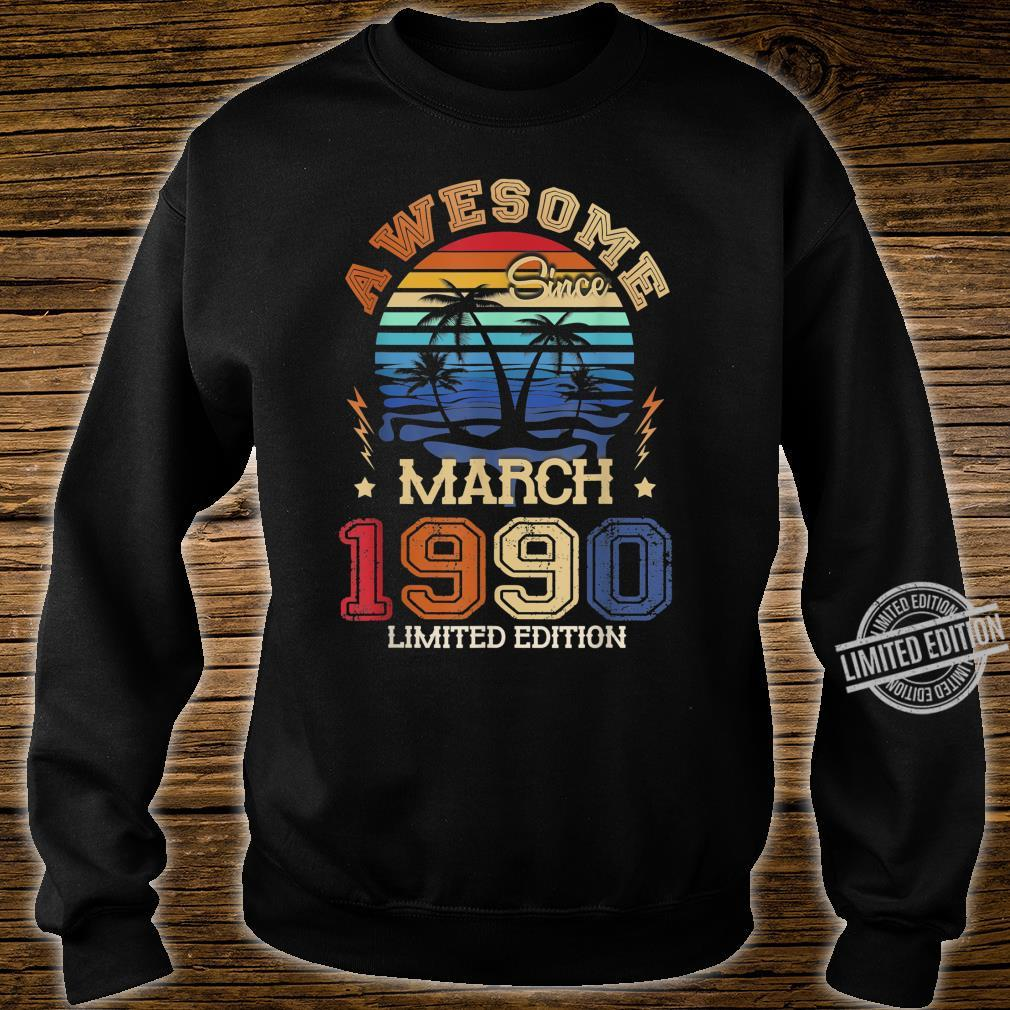 Vintage Awesome Since March 1990 30th Birthday Shirt sweater