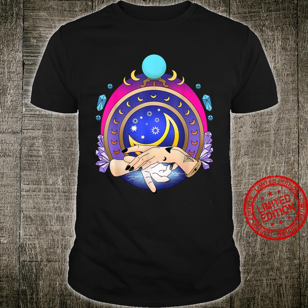 Witch Hands Psychic Moon Stars Galaxy Crystals Shirt