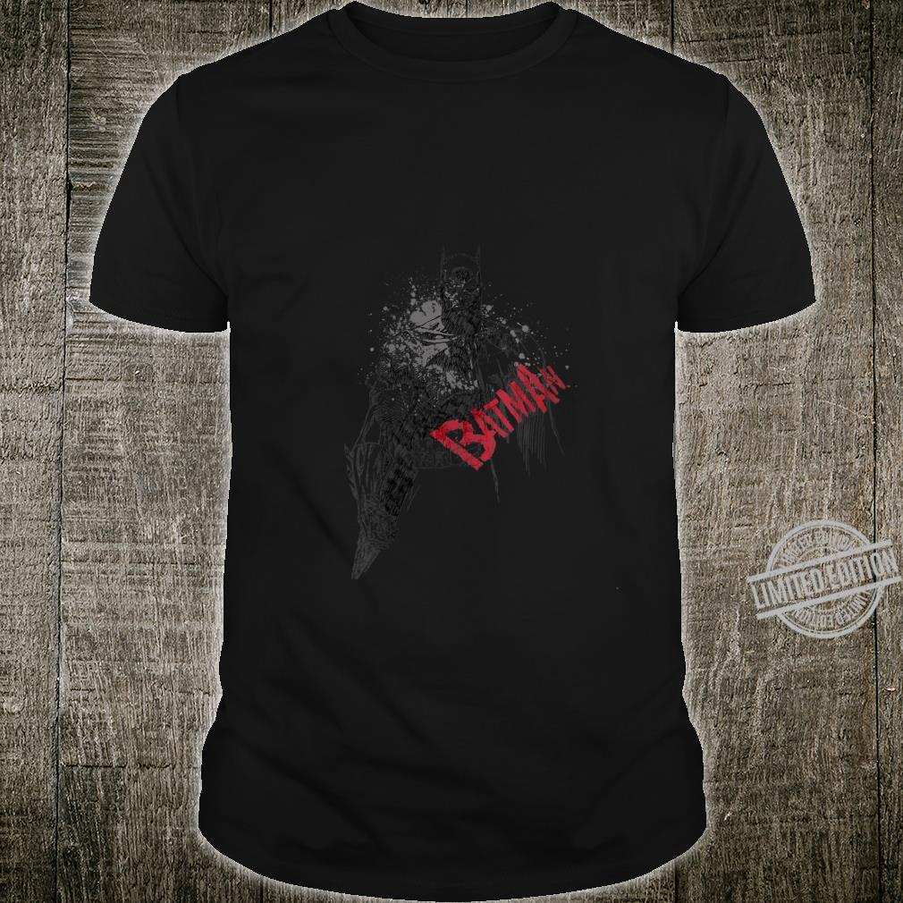 Womens Batman Sketch Bat Red Logo Shirt