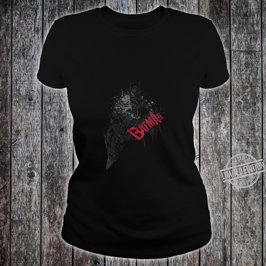 Womens Batman Sketch Bat Red Logo Shirt ladies tee