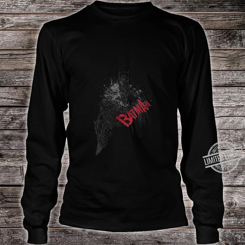 Womens Batman Sketch Bat Red Logo Shirt long sleeved
