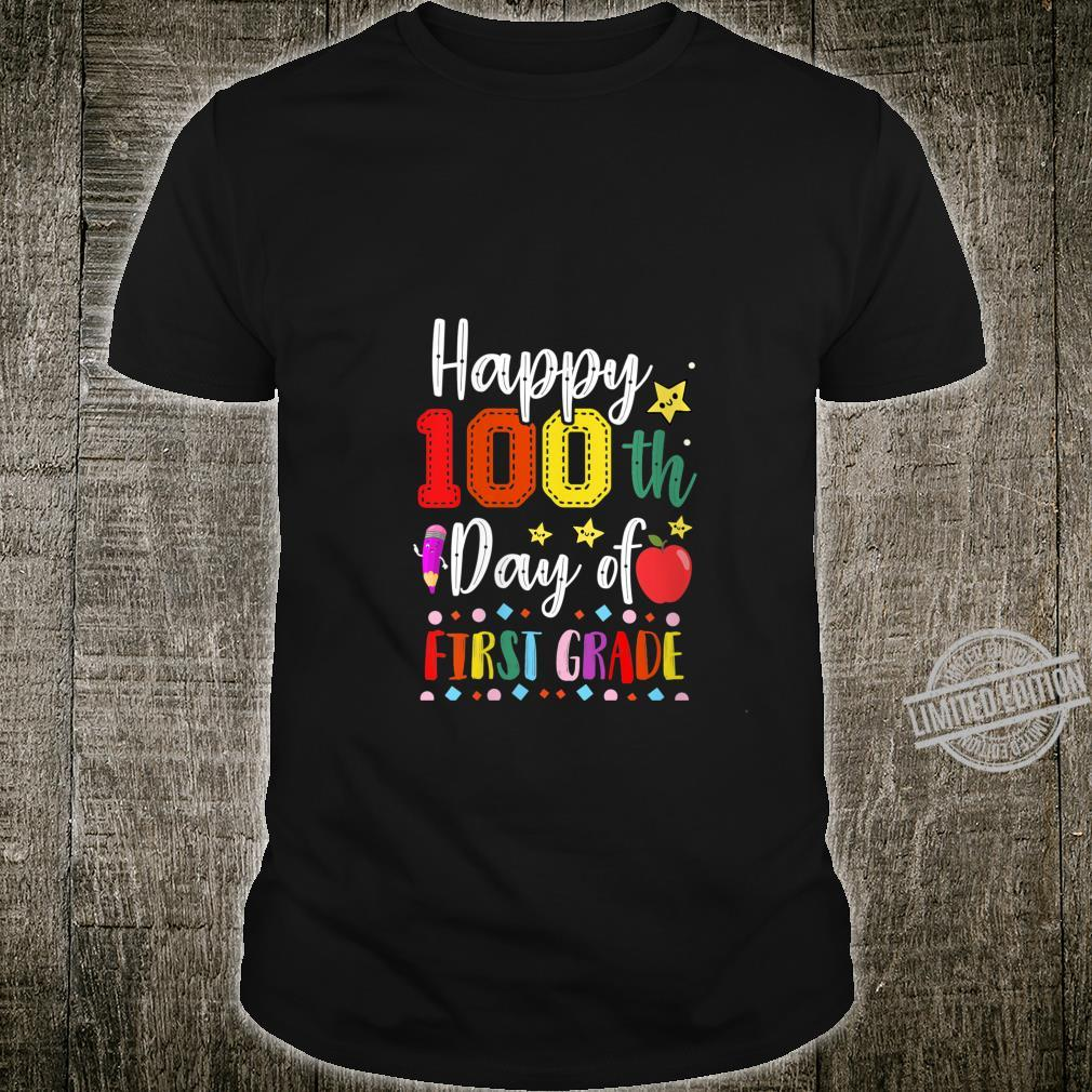 Womens Happy 100th Day of First Grade Colorful Teacher and Student Shirt