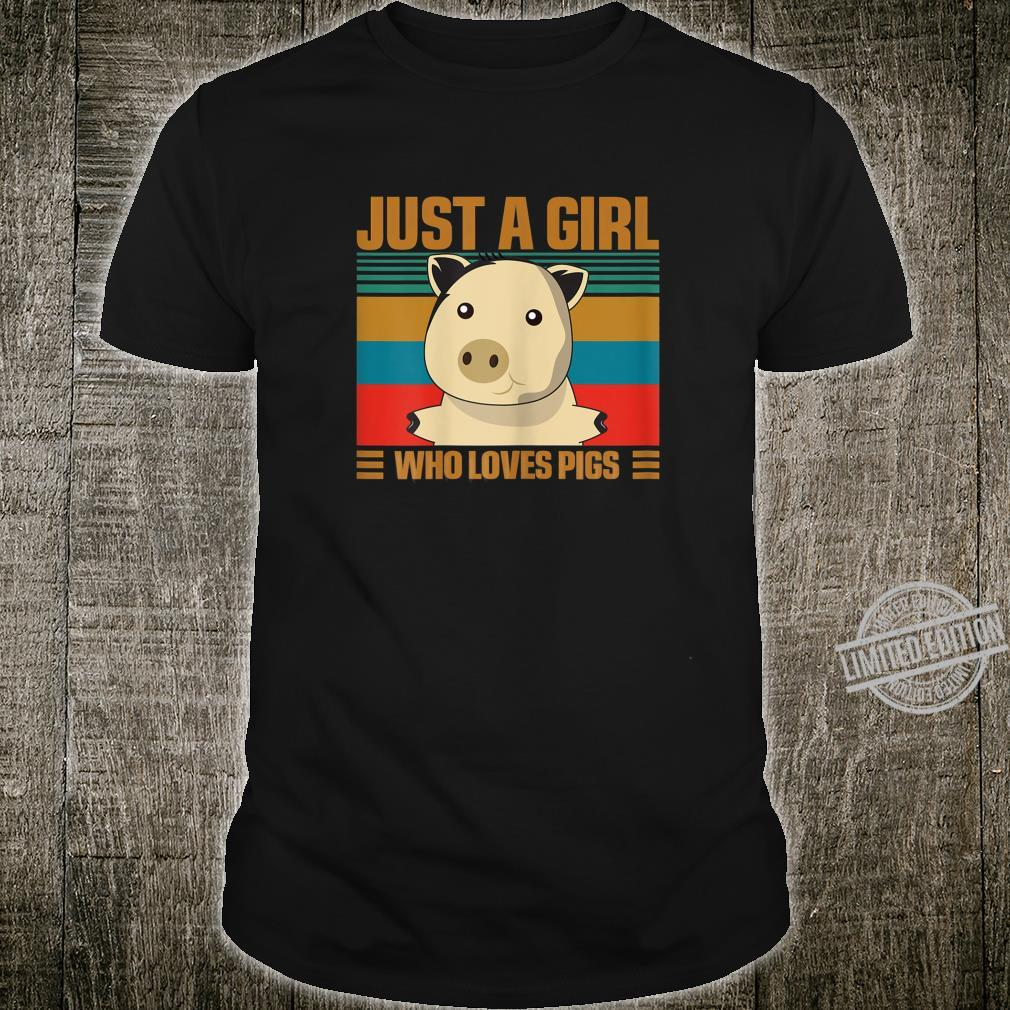Womens Just a Girl Who Loves Pigs Vintage Distressed Style Shirt